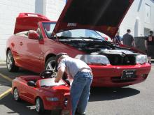 My 1999 Volvo C70 and My Son Grant's matching Volvo as he preps it for the show