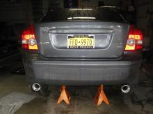 "This is the new look after the exhaust replacement on the 2005 S40... Felt good to take the ""FoMoCo"" parts off..."