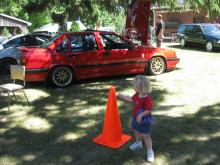 Joyce admiring the cars at the 32nd Canadion Volvo Club Meet