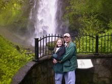 Heather and I on the upper walkway at Multnomah Falls