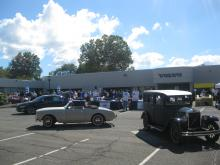 Jacob and P1900 in front of the Volvo Cars of North America Office, 2013 Open House
